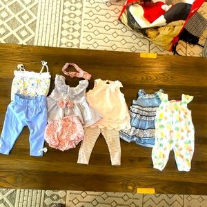 6 outfit infant girl bundle size 3-6 months